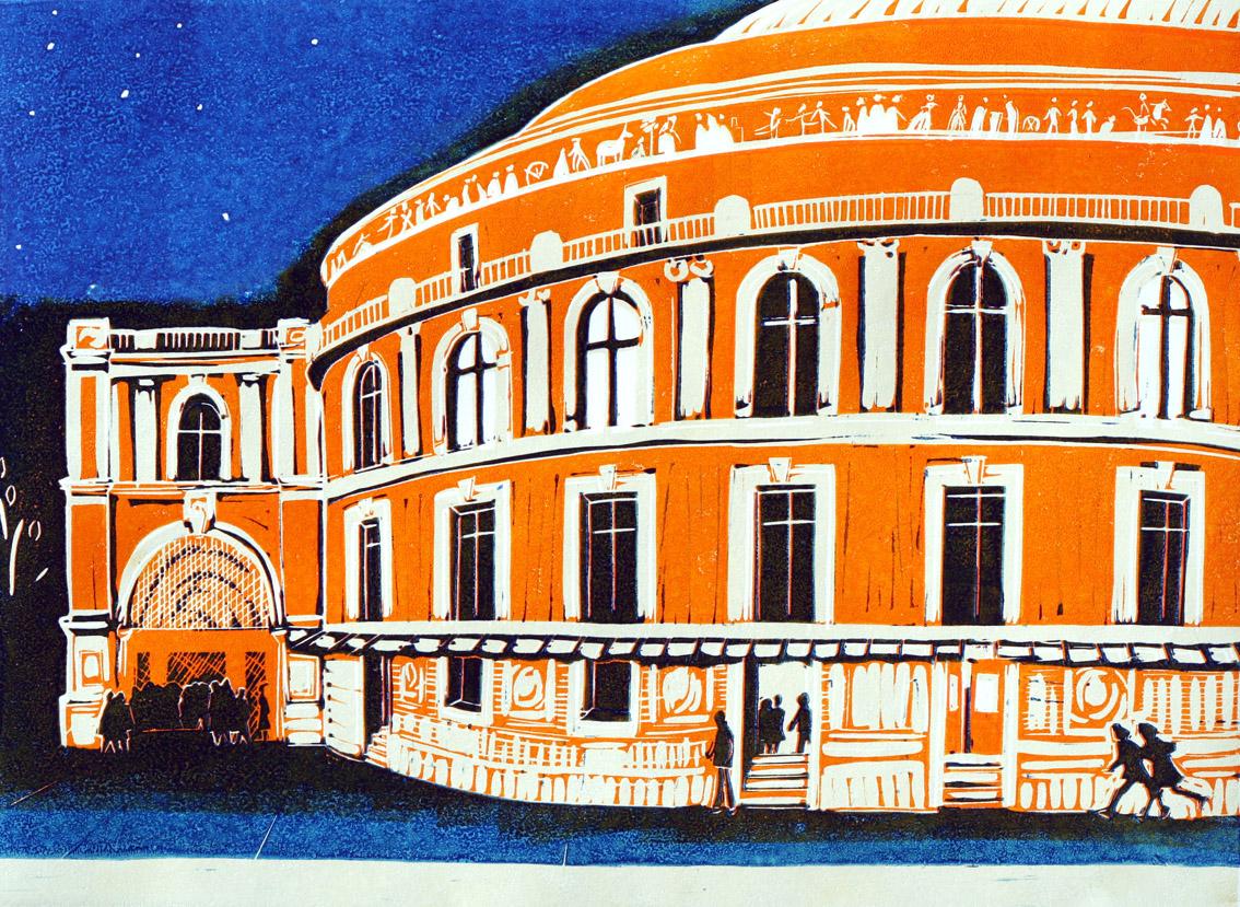 Royal Albert Hall linocut