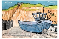 Fishing boats at Rock-a-Nore, Hastings. Linocut by Fiona Horan