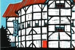 Shakespeare's Globe, blue. Linocut by Fiona Horan