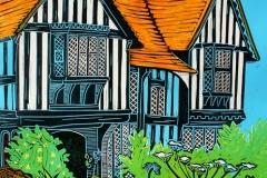 Great Dixter Garden linocut by Fiona Horan