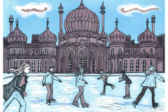 Ice-Rink-at-the-Royal-Pavilion-Brighton.-Linocut-by-Fiona-Horan