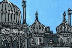 Royal Pavilion at Night linocut by Fiona Horan