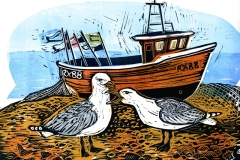 Seagulls and RX88. Linocut by Fiona Horan